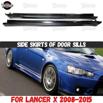 Side skirts for Mitsubishi Lancer 10 2008-2015 of door sills ABS plastic pads body kit car tuning styling exterior 1 set / 2 pcs