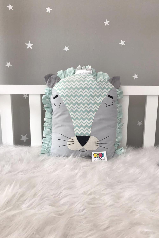jaju-baby-kidimoon-gray-mint-lion-cradle-protection-decor-pillow