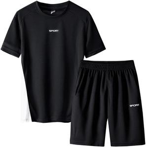 Image 2 - Respirant hommes survêtement été hommes 2 pièces ensemble à manches courtes t shirt de course t shirts Shorts ensemble de vêtements de sport hommes hommes ensemble de vêtements
