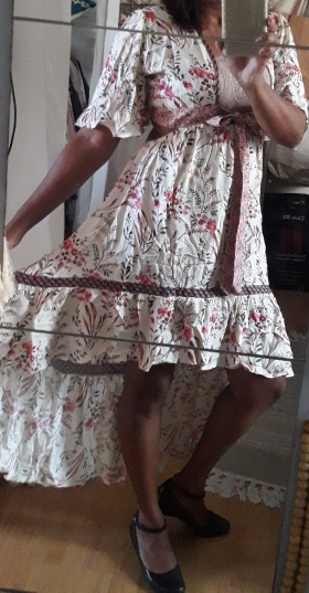 Chic Summer Vintage Floral Print Backless Dress Women Fashion With Sashes Asymmetrical Beach Dresses Vestidos Mujer photo review