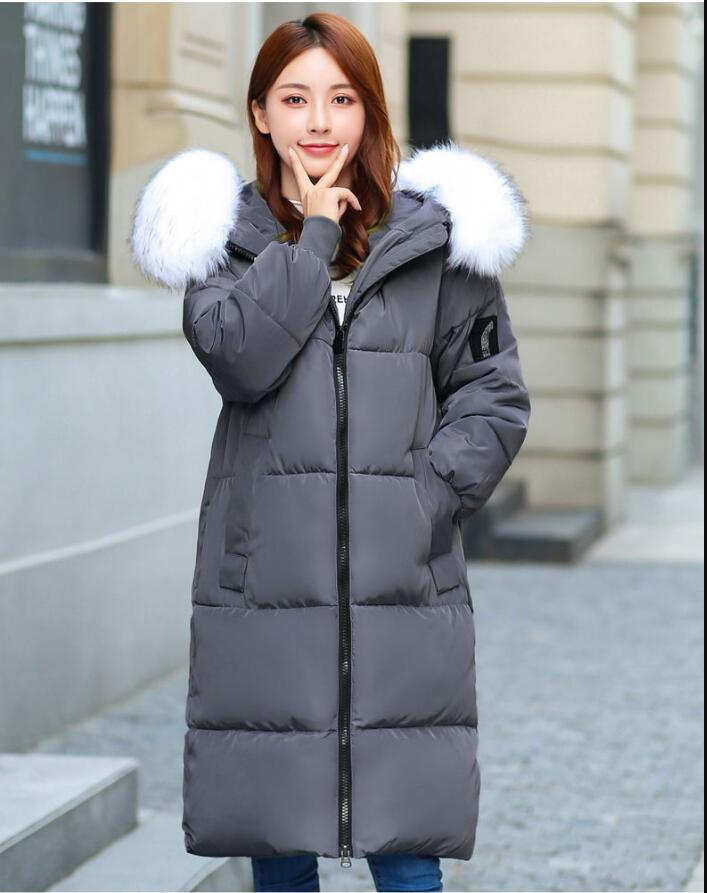 Dugujunyi 2019Women Winter <font><b>Coat</b></font> big fur Down jacket Female Plus size 5XL 6XL <font><b>7XL</b></font> <font><b>Coats</b></font> Warm Hooded Winter jackets Women Long Par image