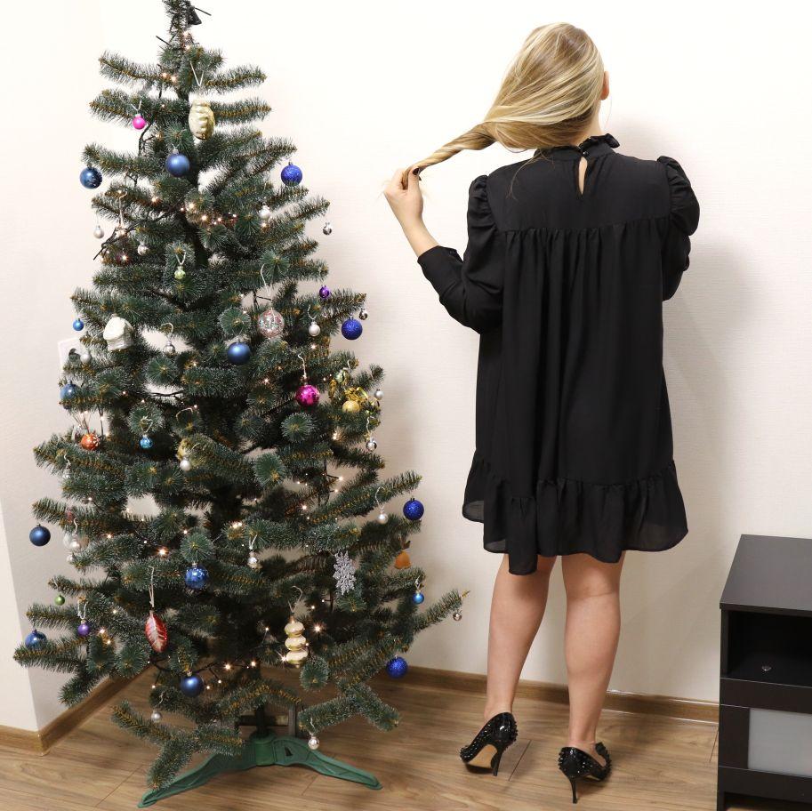 Hot 2019 autumn new fashion women's temperament commuter puff sleeve small high collar natural A word knee Chiffon dress reviews №5 342795