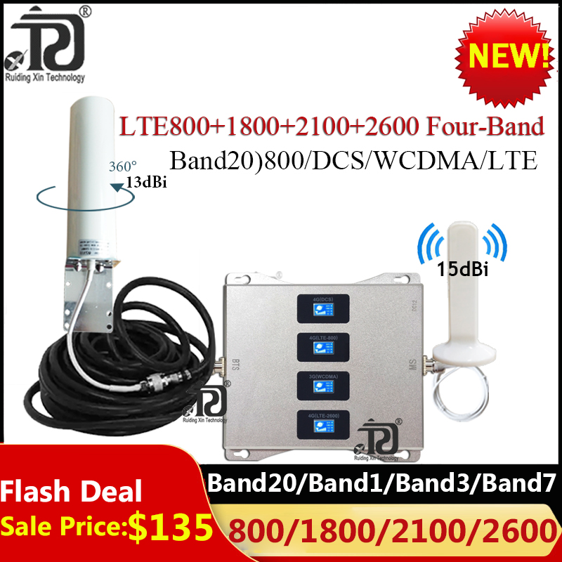 Four-Band LTE B20 800 1800 2100 2600Mhz Cellular Amplifier 4G Signal Repeater GSM 2G 3G 4G Mobile Signal Booster LTE DCS WCDMA
