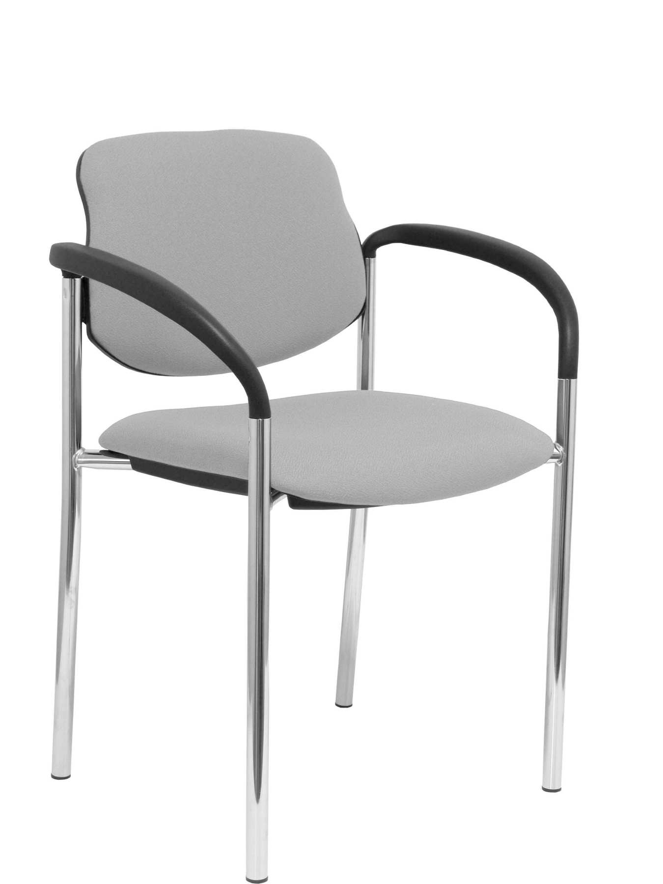 Confident Chair 4-leg And Estructrua Chrome Arms-Seat And Back Upholstered In Fabric BALI Gray PIQ