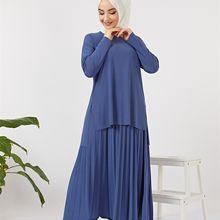 Butik Melike damski Suguba garnitur Indigo nowy nabytek hidżab abaya moda muzułmańska zestaw islamska odzież modlitwa wykonana w turcji