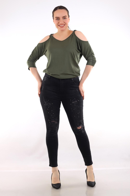 Pianoluce женские джинсы с вышивкой камнями черные 49115
