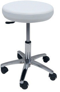Stool WORK 2, Chrome, Gas, Upholstered Similpiel Black Or White