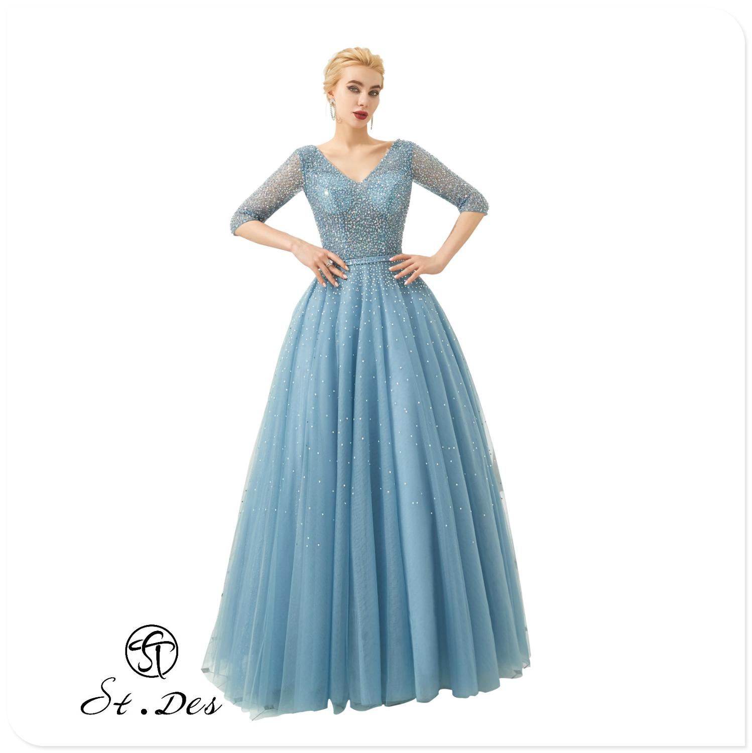 NEW 2020 St.Des A-line V-neck Russian Sky Blue Diamond Sequins Mid-sleeve Designer Floor Length Evening Dress Party Dress