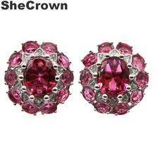 18x17mm Gorgeous Created Pink Raspberry Rhodolite Garnet White CZ Silver Earrings