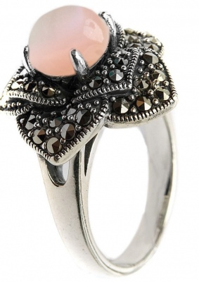 Yuk Marcasite Ring With Mother Of Pearl And Marcasite From Silver