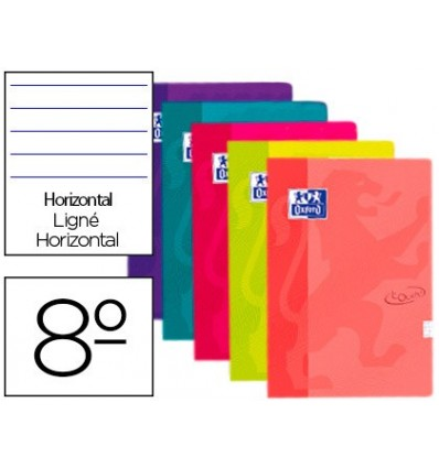 NOTEPAD OXFORD TOP EXTRADURA 8 80 SHEETS HORIZONTAL ASSORTED COLORS TOUCH 5 Pcs