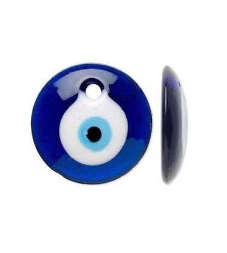 EYE TURKISH AMULET Round BLUE Murano Glass