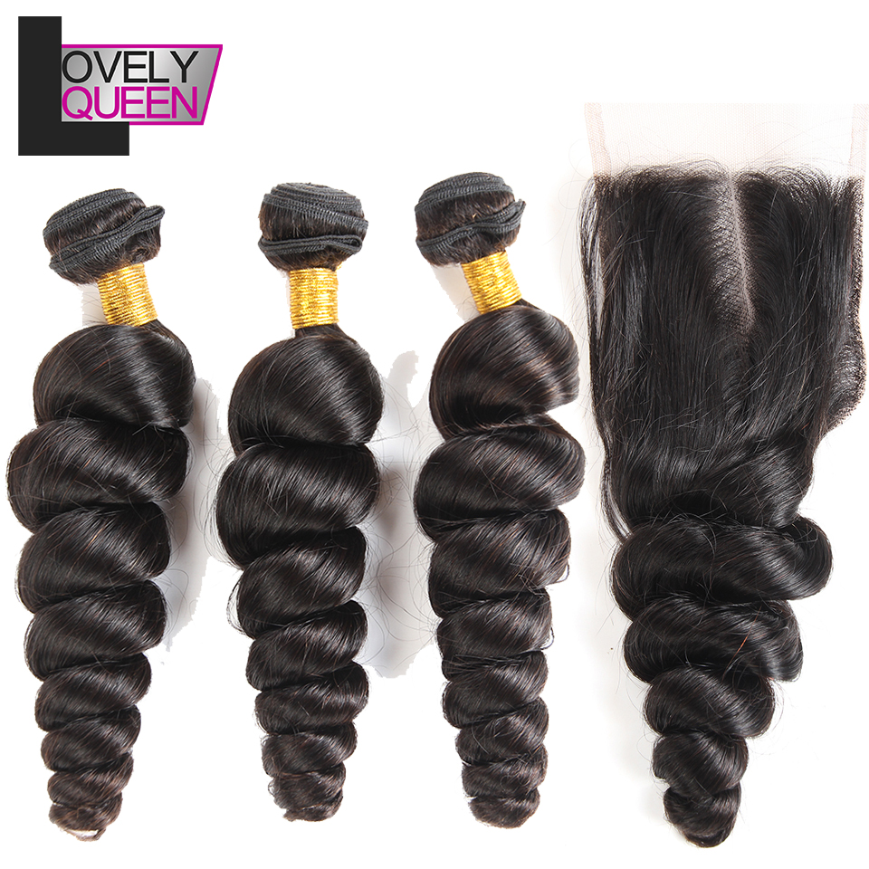 Lovely Queen Hair Loose Wave 3 Bundles With Closure Malaysian Hair Bundles With Closure Human Hair Extensions Non Remy