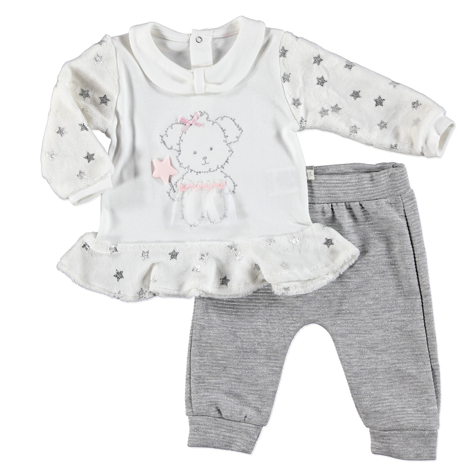 Ebebek Mymio Star Baby Girl Velvet Sweatshirt Trousers Set 2 Pcs