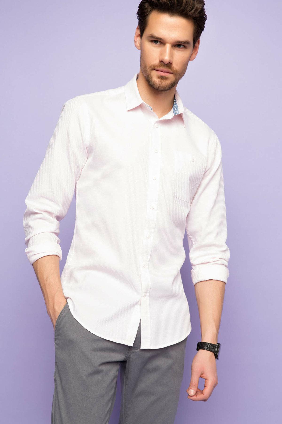 DeFacto Formal New Casual Fashion Men Long Sleeve Shirt Autumn Men Lapel Casual Blouses Male Solid Comfort Shirts - G7229AZ17SM