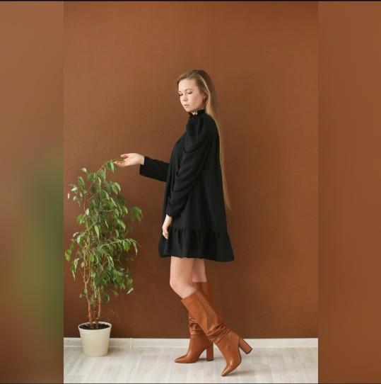 Hot 2019 autumn new fashion women's temperament commuter puff sleeve small high collar natural A word knee Chiffon dress reviews №5 342862