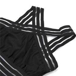2019 сексуальный сдельный Купальник для женщин с высокой горловиной, бандажный купальник с перекрестной спинкой, монокини, черный купальник ... 4