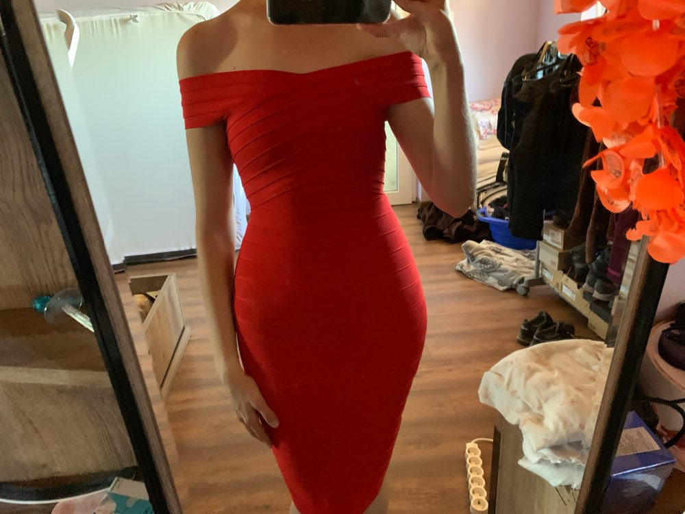 Sexy Off Shoulder Women Bandage Dress Elegant Slash Neck Knee Length Bodycon Backless Party Dress Vestidos photo review