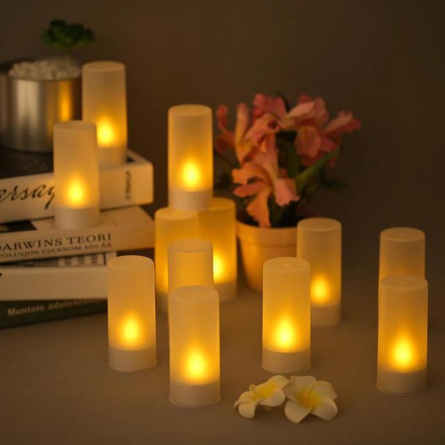 Velas parpadeantes LED recargables, luces de velas en Tealight de llama con tazas esmeriladas, Base de carga, luz amarilla, 4/6/12 unidades