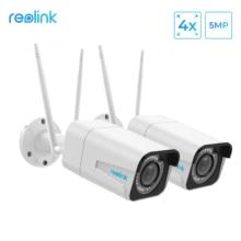 Reolink RLC 511W 2 חבילה WiFi מצלמה 2.4G/5G 4MP/5MP Bullet IP מצלמה 4x זום אופטי SD כרטיס חריץ ראיית לילה 5MP מצלמה