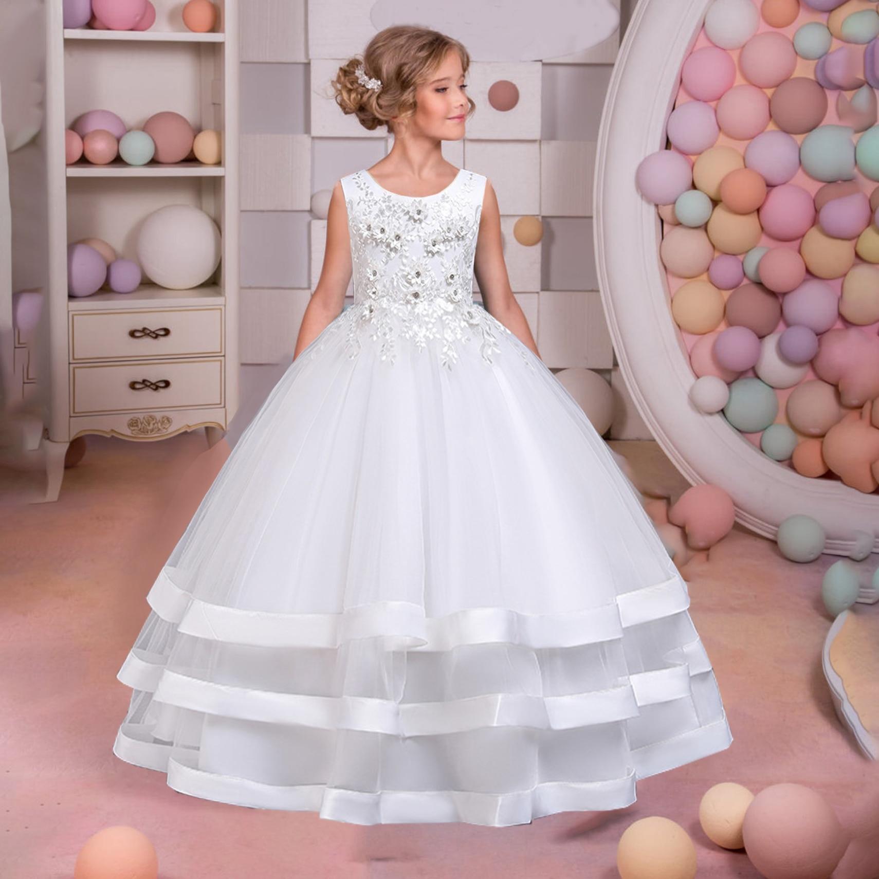 Teen branco dama de honra vestidos da menina flor longo cetim listrado princesa vestido de casamento para a menina noiva traje menina roupas 8 12 y
