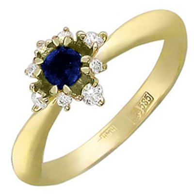 Esthete Ring With Diamonds, Sapphire In 750 Yellow Gold
