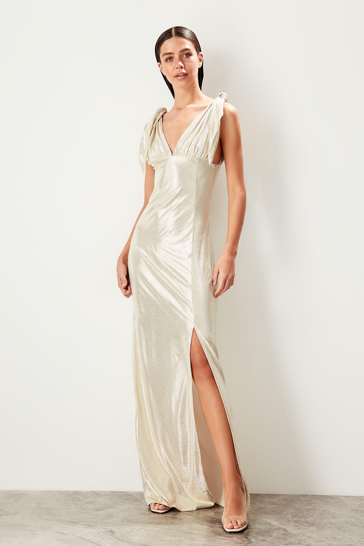 Trendyol Bow Detailed   Evening     Dress   TPRSS19SE0109