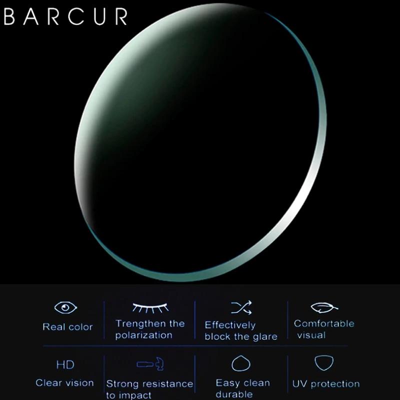 BARCUR Polarized 1.50 1.61 1.67 Myopia Sunglasses Lens UV400 Prescription CR-39 Resin Spherical Glass Lens Myopia