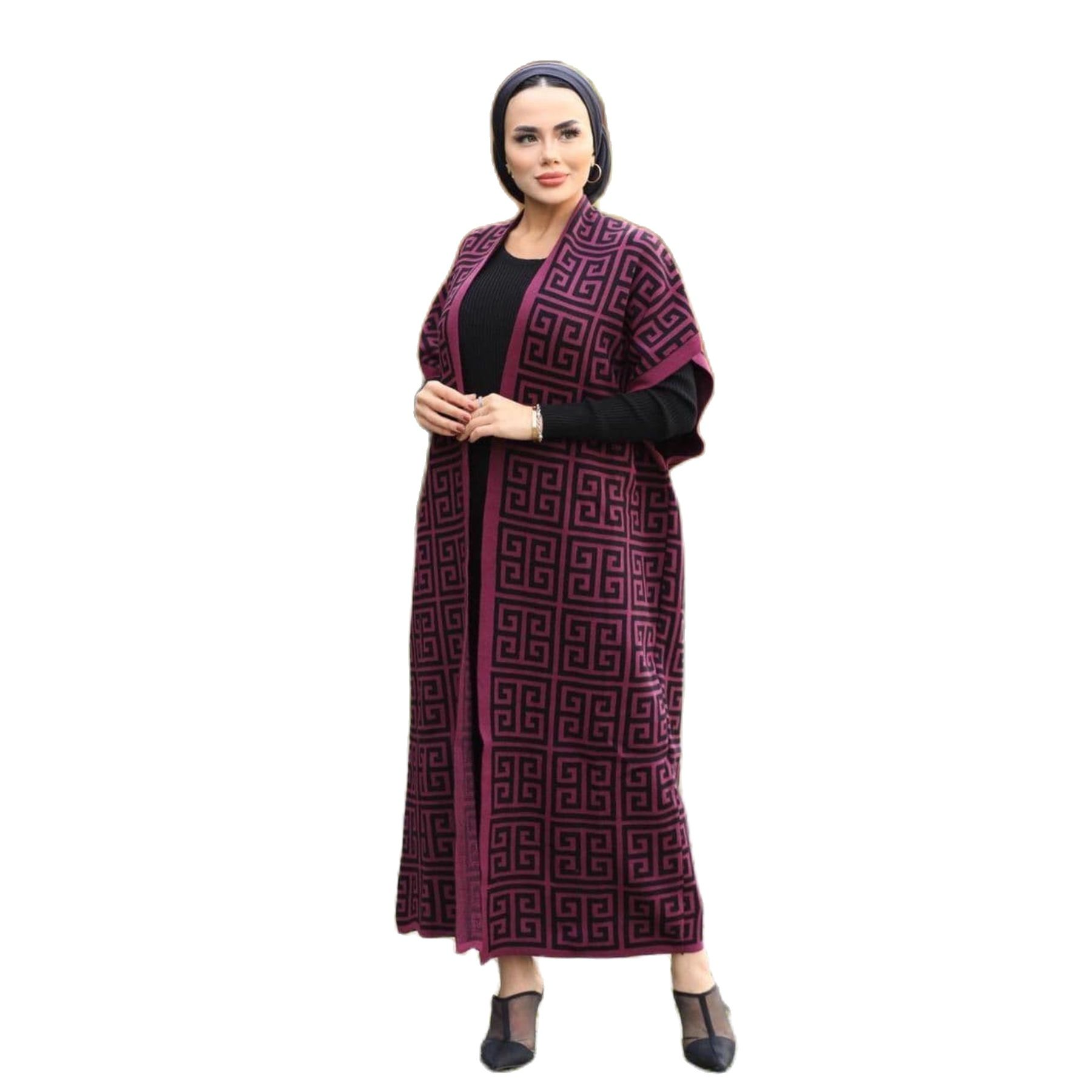 2 Pieces Patterned Women's Set, Maxi Dress and Cardigan Double Suit For Winter Islamic Fashion Muslim Clothing Turkey Dubai 2021