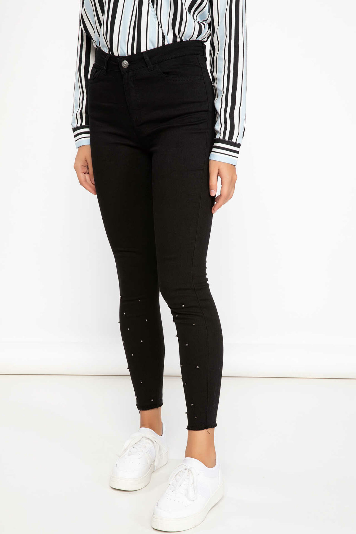 DeFacto Women Cotton Skinny Trousers Female Casual Comfort Pencil Pants High Qualilty Slim Crop Pant Female -J5874AZ18AU