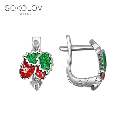 Children Drop Earrings With Stones With Berries Strawberry SOKOLOV Fashion Jewelry Silver 925 Women's/men's, Male/female