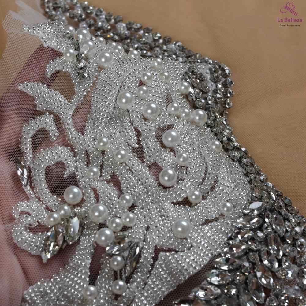 La Belleza güzel büyük parça el yapımı inciler kristal suni elmaslı yama düğün elbisesi aplike aksesuarları 33X55CM