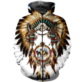 New Native Indian American 3D Print Men's Zipper Hooded Hoodies Skull Dream Catcher Casual Harajuku Hoody Coat Jacket Sweatshirt mancera indian dream