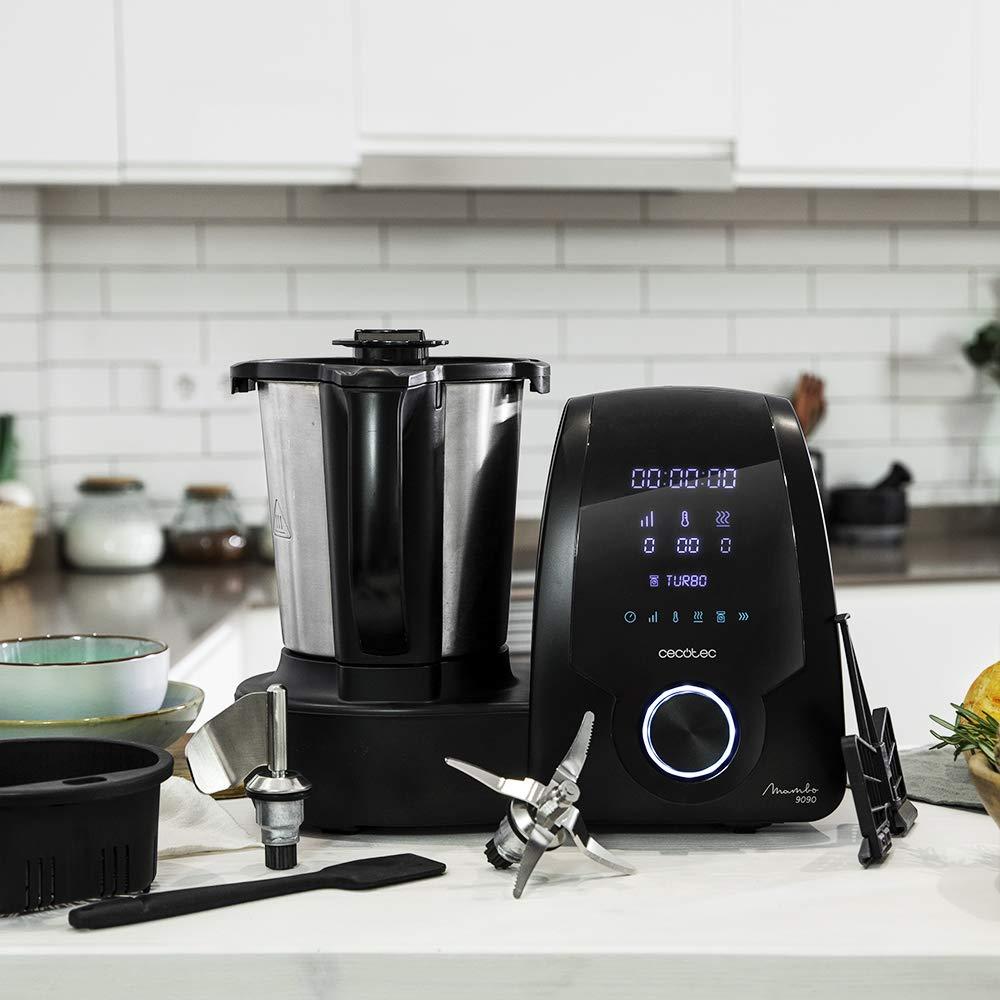 Cecotec Mambo – Robot de cocina con 23 Funciones. Pantalla Digital. Gran Capacidad de 3,3 Litros, 10 Velocidades y Temporizador Ajustable. Recetas Incluidas. Hasta 3 Platos a La Vez. Elige entre 7090- 8090 – 9090