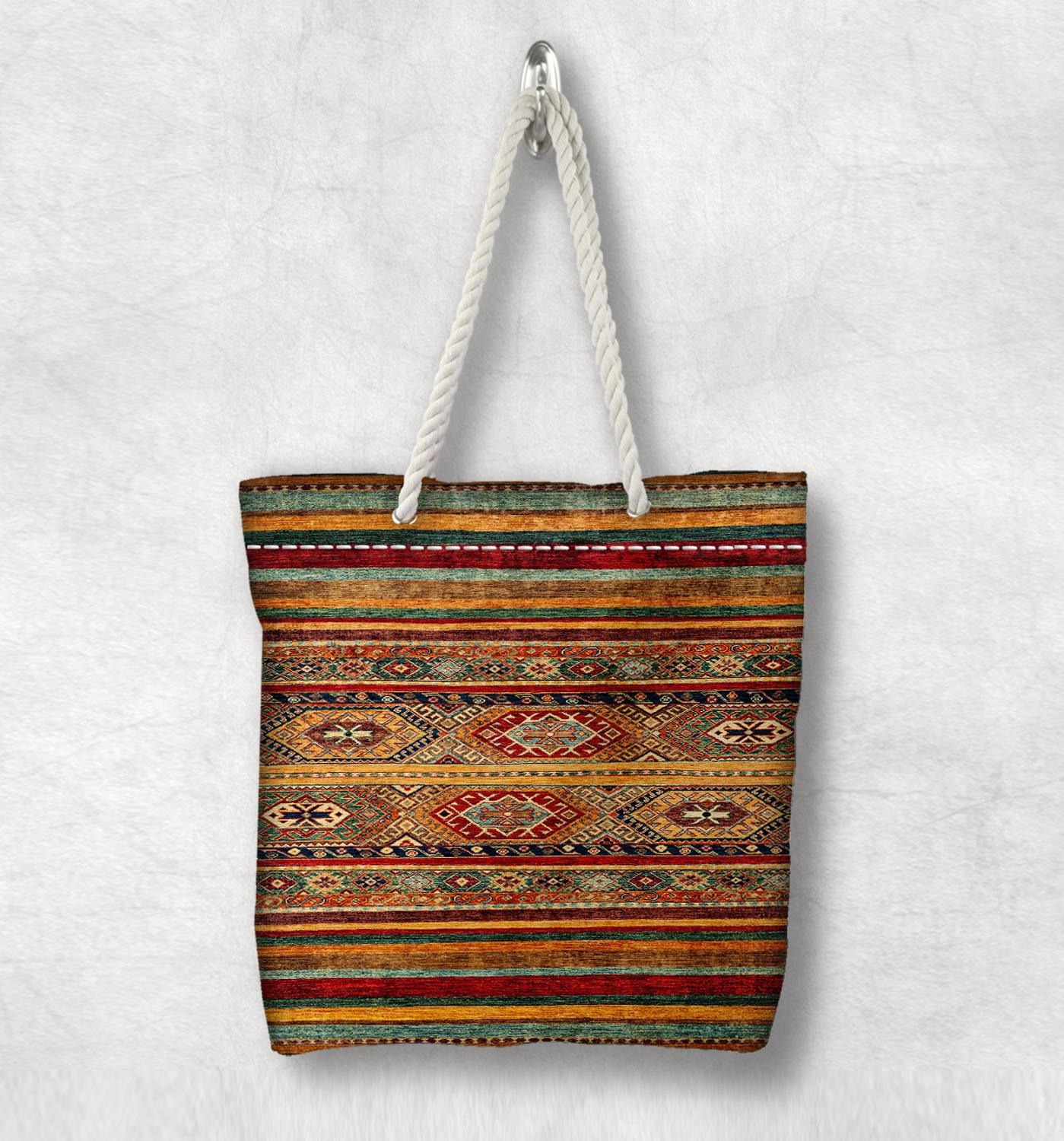 Else Brown Red Retro Anatolia Antique Kilim Design White Rope Handle Canvas Bag Cotton Canvas Zippered Tote Bag Shoulder Bag