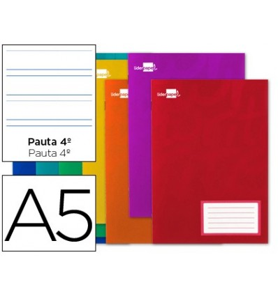 BOOK LIDERPAPEL WRITE A5 32 SHEETS 60G/M2CUADRO PATTERN 4ª 35MM WITH MARGIN 20 Units