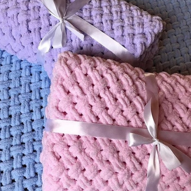 Alize Puffy Blanket Baby Blanket Newborn Gift Soft Blanket Hand Knitted Blanket  Baby ShowerGift Baby  Throw, Swaddle