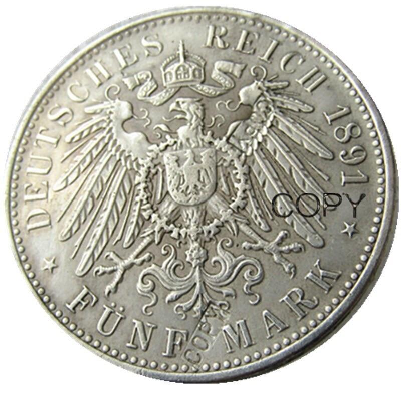 Bir dəst (1891-1901) 5 əd. ALMAN STATES BADEN - 5 markalı Gümüş - Ev dekoru - Fotoqrafiya 3