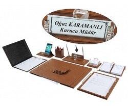 Нева 12 шт. роскошный коричневый табак-цветной кожаный стол набор/стол Pad набор с табличкой имя табличка тег главный Органайзер