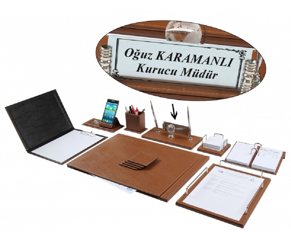 NEVA 12 Piece Luxury Tan Tobacco-Coloured Leather Desk Set/Desk Pad Set With Nameplate Name Plate Tag Chief Organizer