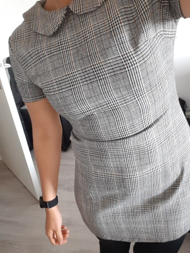 Grey 100% Cotton Peter Pan Collar Plaid Short Sheath Short Sleeve Flared Dress Autumn Elegant Modern Lady Women Dresses photo review