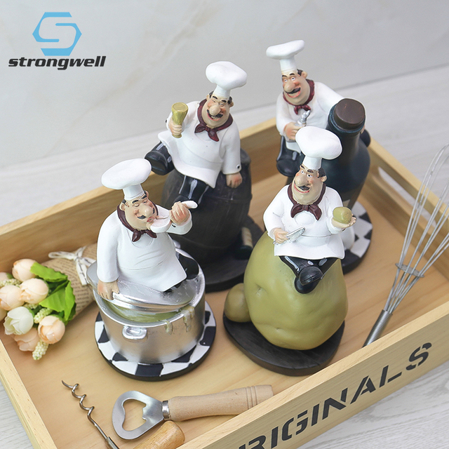 Strongwell Retro Chef Model Ornaments Resin Crafts Chef Figurines White Top Hat Cook Home Kitchen Restaurant Bar Coffee Decor