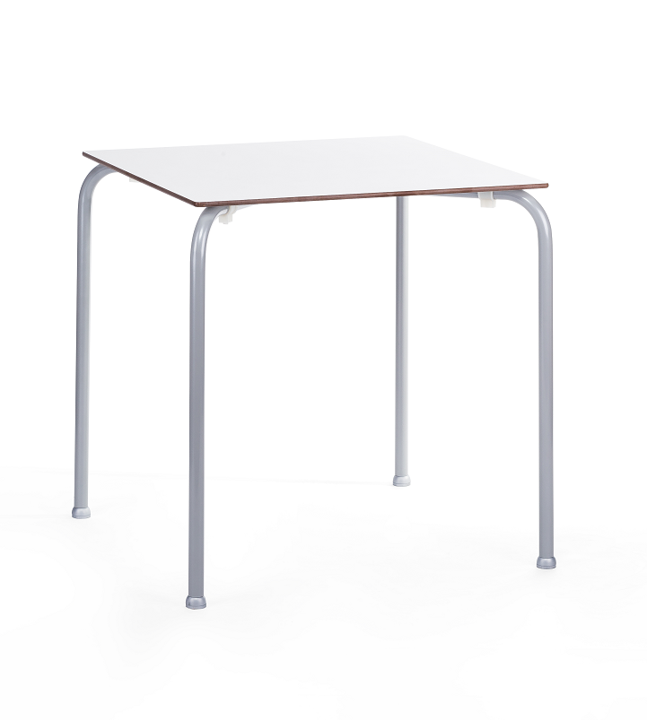 Table FERAY, Stackable, Silver Epoxy, Phenolic Board White, 70x70 Cms.