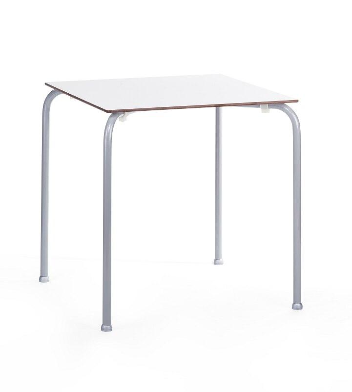Table FERAY, Stackable, Silver Epoxy, Phenolic Board White, 70x70 Cms.
