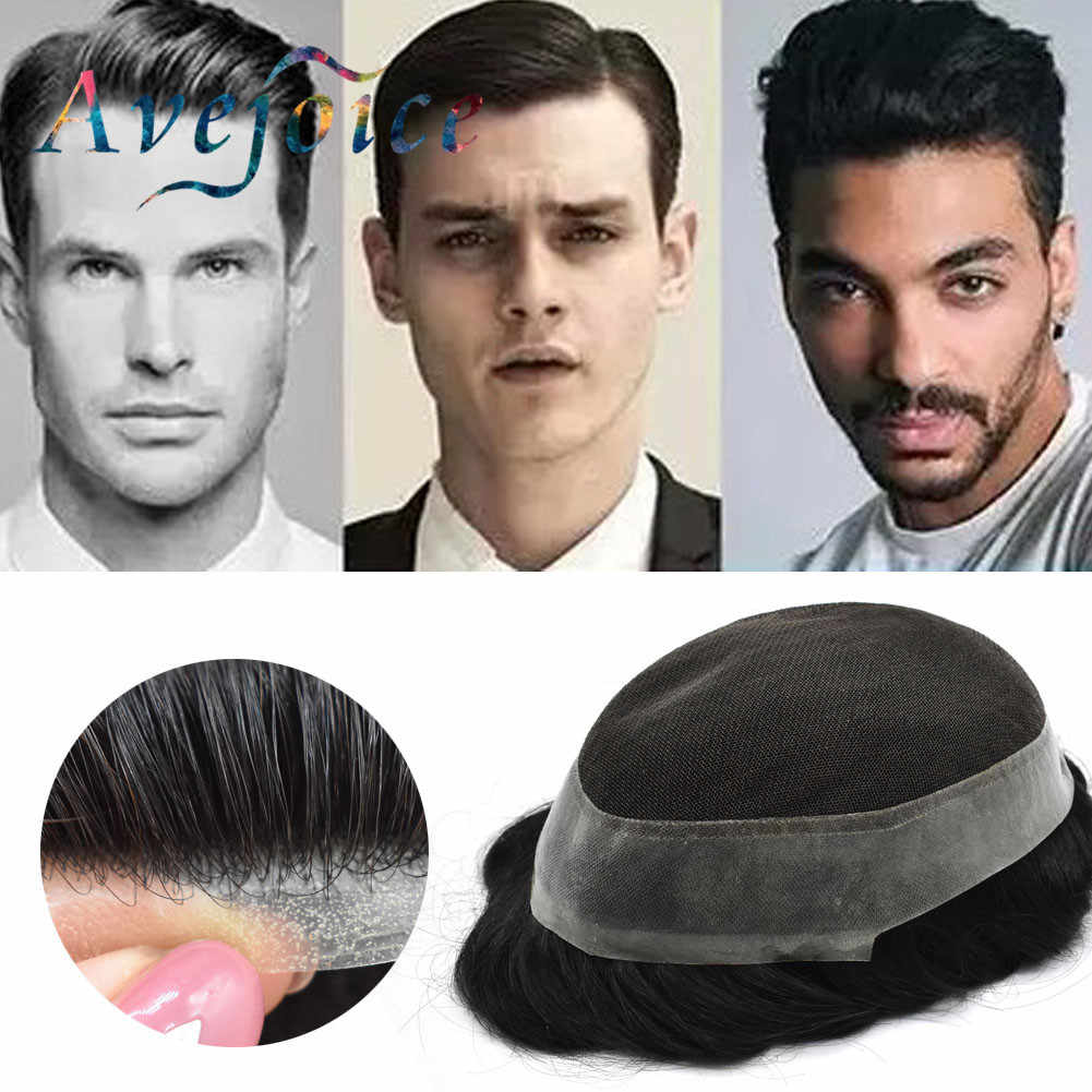Indian Hair French Lace & Clear PU Men Toupee 8A 100% Remy Human Hair System Hair Replacement Hairpieces For Males