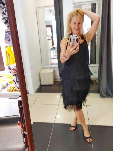 Tassel Dress Women Sexy Summer Flapper Beach Dress Strap Low Cut Black Silver White Short Fringe Party Dresses photo review
