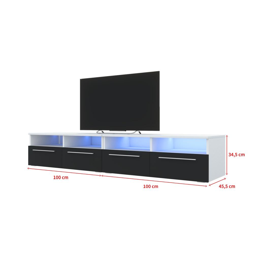Selsey PHIRIS DOUBLE - Meuble tv / Banc tv (2x100 cm, blanc mat / noir brillant, éclairage LED) 4
