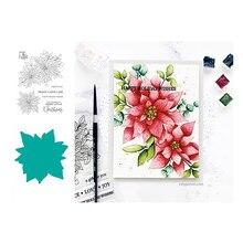 2020 novo natal poinsettia 6*8 polegada diy fazer scrapbooking/cartão/álbum decorativo silicone artesanato selo