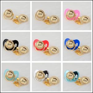 Image 5 - MIYOCAR شخصية أي اسم يمكن أن تجعل الذهب بلينغ مصاصة و مصاصة كليب BPA الحرة دمية بلينغ تصميم فريد P8