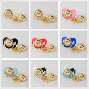 Image 5 - MIYOCAR Personalized any name can make gold bling pacifier and pacifier clip BPA free dummy bling unique design P8